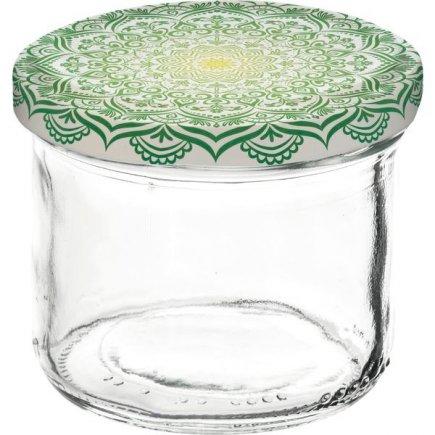 Zavařovací sklenice Gastro 120 ml, víčko dekor Mandala zelené