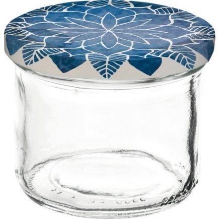 Zavařovací sklenice Gastro 120 ml 6 ks, víčko dekor Mandala modré