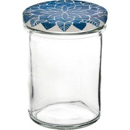 Zavařovací sklenice Gastro 230 ml, vysoká, víčko dekor Mandala modré