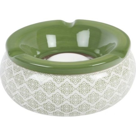 Popelník do větru keramický Ornamenty 15 cm, zelený, různé motivy