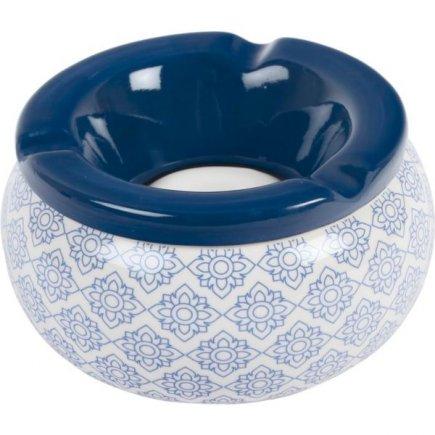 Popelník do větru keramický Ornamenty 12 cm, modrý, různé motivy