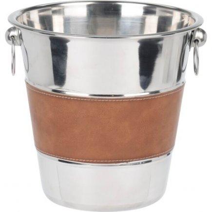 Chladící nádoba na sekt Gastro 21 cm, nerez/koženka