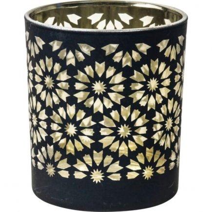 Svícen na čajovou svíčku Gusta 9 cm, černý