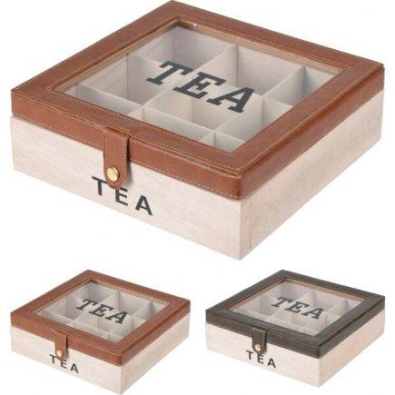 Box na čajové sáčky dřevěný 25x24 cm, různé motivy