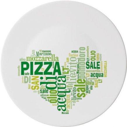 Talíř na pizzu 33 cm, zelený motiv Love, tvrzené sklo, profi výrobek, Bormioli Rocco